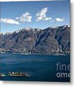 lake with Brissago islands and snow-capped mountain Metal Print