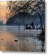 Lake With Ice In Sunset Metal Print