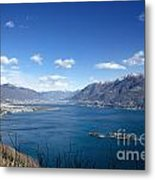 Lake With Islands And Snow-capped Mountain Metal Print