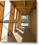 Lakeside Building And Dock Metal Print
