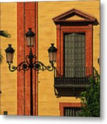 Lamp And Window In Sevilla Spain Metal Print