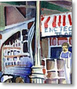 Lamp Post In The Cafe Metal Print by Mindy Newman