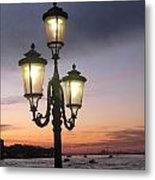 Lampost Sunset In Venice Metal Print by Catie Canetti