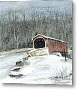 Lancaster County Covered Bridge In The Snow  Metal Print