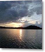 Landscape Lake At Sunset Metal Print