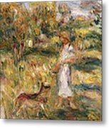 Landscape With A Woman In Blue Metal Print by Pierre Auguste Renoir