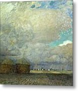 Landscape With Huts Metal Print