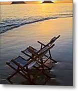 Lanikai Chairs At Sunrise Metal Print