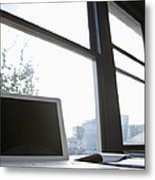 Laptop On A Desk Metal Print by Jetta Productions, Inc