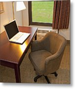 Laptop On A Hotel Room Desk Metal Print by Thom Gourley/Flatbread Images, LLC
