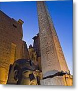 Large Pharaohs Head Statue And Obelisk Metal Print