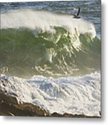 Large Waves And Seagulls Near Pemaquid Point On Maine Metal Print