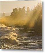 Large Waves Lightbeams Pemaquid Point Maine Metal Print