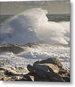 Large Waves Near Pemaquid Point On The Coast Of Maine Metal Print