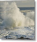 Large Waves On Rocky The Coast Maine Metal Print