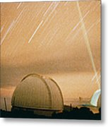 Laser Beam Fired Into The Night Sky Metal Print