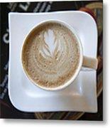 Latte With A Leaf Design Metal Print