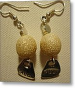 Laugh In Pearl Earrings Metal Print
