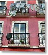 Laundry And A Pink Building  Lisbon Metal Print