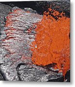 Lava Bursting At Edge Of Active Lava Metal Print