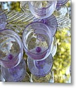 Lavender Wine Glasses Metal Print