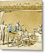 Lavoisier Experimenting Metal Print