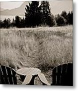 Lawn Chair View Of Field Metal Print by Darcy Michaelchuk