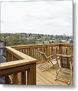 Lawn Chairs On Deck Metal Print by Andersen Ross