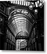Leadenhall Market Black And White Metal Print