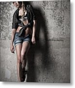 Lean Against The Wall Metal Print
