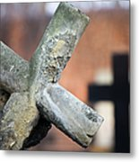 Leaning Cross At Cemetery Metal Print