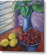 Leaves Cherries And Lemons Metal Print