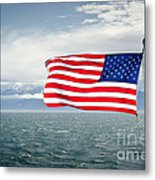 Leaving The Olympics Stars And Stripes On The Straits From The Olympic Mountains Metal Print