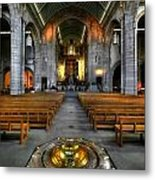 Leeds Cathedral Baptismal Font And Nave Metal Print