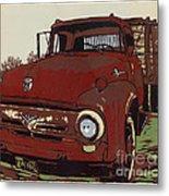 Leeser's Truck - Linocut Print Metal Print