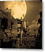 Legend Of The Great White Phoenix Of Chinatown . 7d7172 . Sepia Metal Print by Wingsdomain Art and Photography