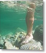 Legs Underwater Metal Print