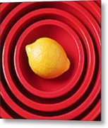Lemon In Red Bowls Metal Print by Garry Gay