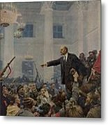 Lenin 1870-1924 Declaring Power Metal Print by Everett