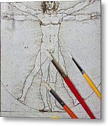 Leonardo Artwoork And Brushes Metal Print by Garry Gay