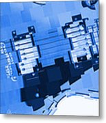 Abstract Guitar In Blue 2 Metal Print