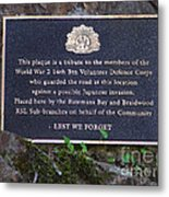 Lest We Forget Metal Print by Joanne Kocwin