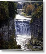 Letchworth State Park Middle Falls With Watercolor Effect Metal Print