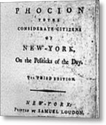 Letter From Phocion, 1784 Metal Print