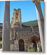 Library Of Celsus And Columns Metal Print