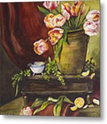 Library Table With Tulips Metal Print