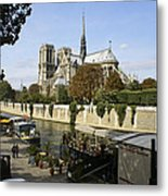Life Along The River Seine Metal Print