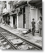 Life By The Tracks In Old Hanoi Metal Print