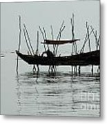 Life On Lake Tonle Sap  Metal Print