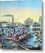 Life On The Mississippi, 1868 Metal Print